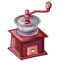 Grind machine for java beans coffee mill vector