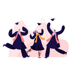 Group male and female characters in graduation vector