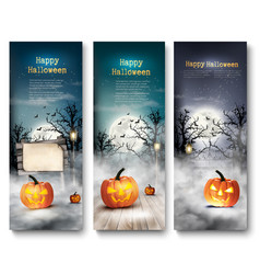 Group of halloween banners with pumpkins and moon vector