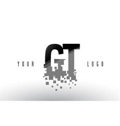 Gt g t pixel letter logo with digital shattered vector