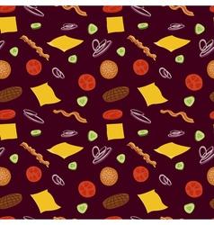 Hamburger seamless pattern Burgers and ingredients vector image