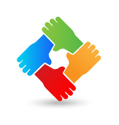 Hands embracing each other teamwork unity peace vector