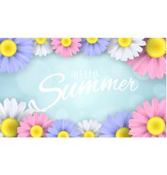 Hello summer seasonal banner multicolored vector