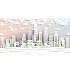 Hong kong china city skyline in paper cut style vector
