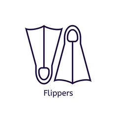 Icon of diving flippers on a white vector