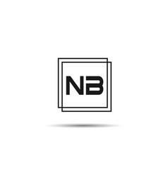 initial letter nb logo template design vector image