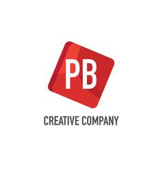 initial letter pb logo template design vector image