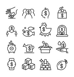 Investment profit icon set in thin line style vector