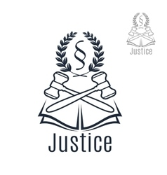 Justice legal emblem of gavel wreath book vector