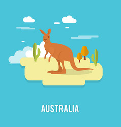 Kangaroo native australian animal on desert in vector