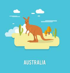 Kangaroo native australian animal on desert vector