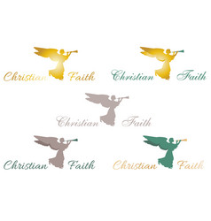 Logo christian faith angel vector