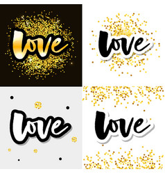 Love logo lettering slogan calligraphy set vector