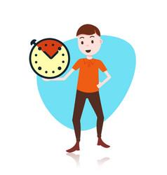 Man character holding deadline clock template vector