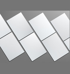 Many blank portrait a4 white paper on gray vector