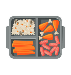 Meal tray filled with chicken drumsticks sausages vector