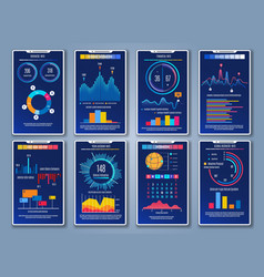 Mobile charts cards vector
