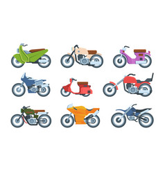 modern and retro motorbikes flat set vector image