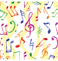 Music pattern music notes and signs seamless vector