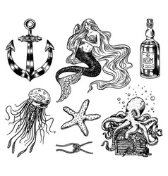 Nautical adventure set sea mermaid anchor vector