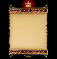 Old parchment with gold gothic ornament and vector