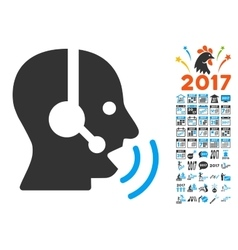 Operator Speech Sound Waves Icon With 2017 Year vector