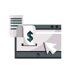 Payments online mobile receipt paper clicking vector