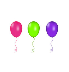 pink green and purple balloons isolated vector image