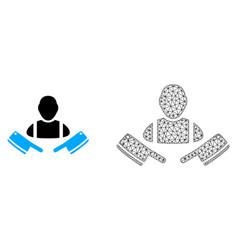 Polygonal mesh butcher man and flat icon vector