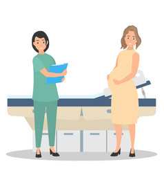 pregnant woman on reception at the doctor vector image