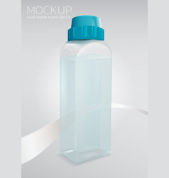 Realistic clear square plastic bottle mockup vector