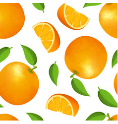 Realistic detailed 3d whole orange and slice vector