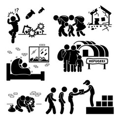 Refugees evacuee war stick figure pictogram icons vector