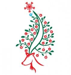 reindeer Christmas tree vector image vector image