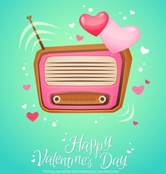 Romantic retro love radio with antenna vector image