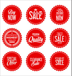 sale red modern stickers collection vector image