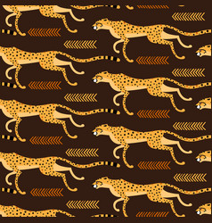 Seamless pattern with running cheetahs leopards vector