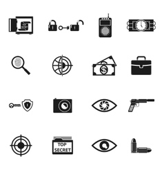 Secret Agent Accessories Icons vector image