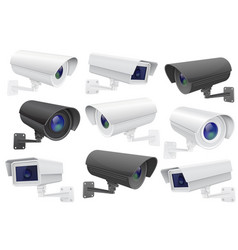 Security camera set cctv surveillance system vector