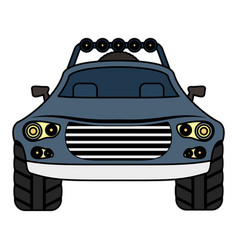 Sedan car vehicle with exploring lights vector