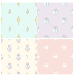 set 4 christmas seamless patterns vector image