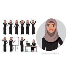 Set of emotions for arabic business woman vector