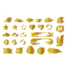 Set of golden smudges and lottery scratches vector