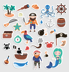 set of pirates cartoon stickers adventures vector image