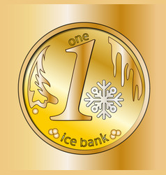 shiny gold round coin with snowflake winter vector image