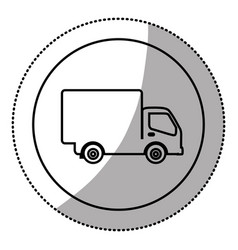 silhouette symbol delivery car icon vector image