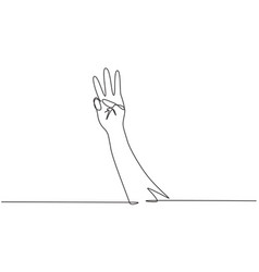 Single one line drawing third place symbol number vector