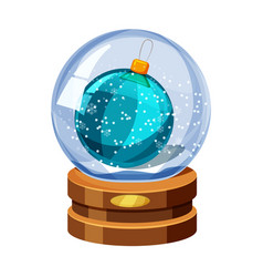 Snow globe with shiny snow and christmas ball vector