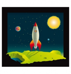 space rocket in deep space vector image vector image