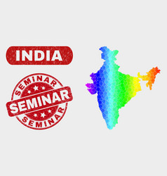 Spectrum mosaic india map and grunge seminar seal vector